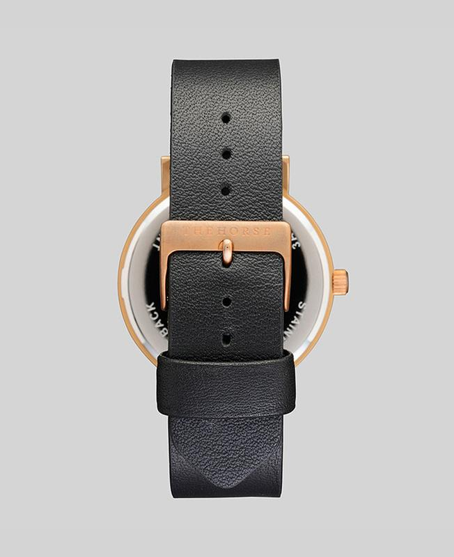 The Horse Original Watch - Rose Gold / Black / Black Leather