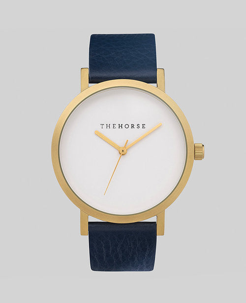The Horse Original Watch - Brushed Gold / Navy Leather