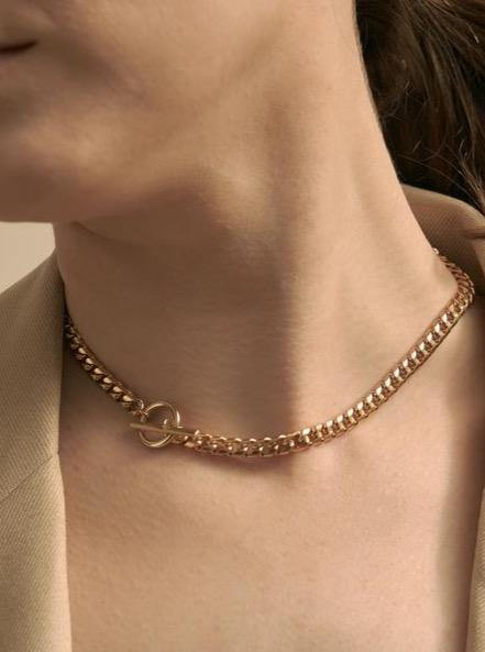 Maslo Jewelry Curb Chain Toggle Necklace - Vincent Park