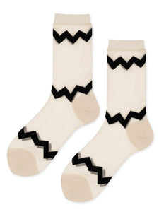 Hansel from Basel Zig Zag Sheer Crew Socks