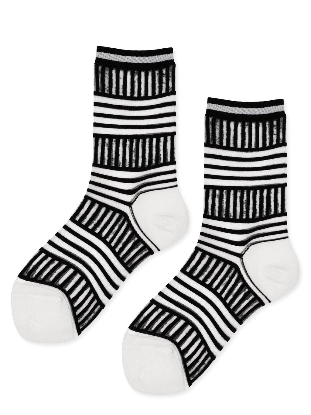 Hansel from Basel Mixed Stripe Sheer Tulle Crew Socks