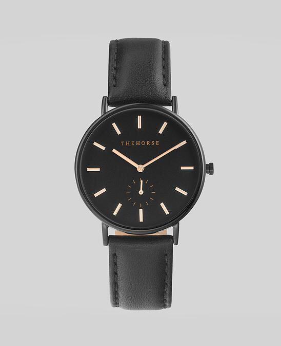 The Horse Classic Watch - Rose Gold / Black / Black Leather