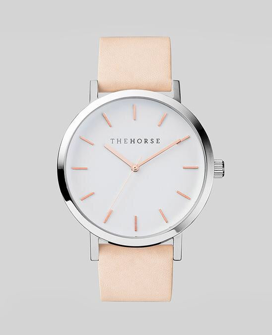 The Horse Original Watch - Polished Steel / Rose Dial / Natural Leather