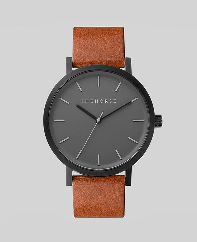 The Horse Original Watch - Black / Grey Face / Tan Leather