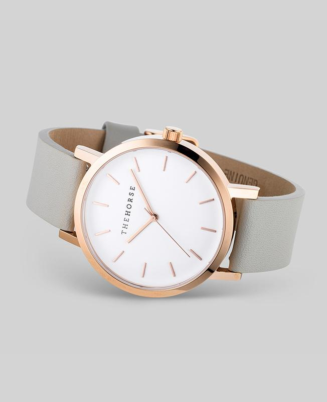 The Horse Original Watch - Rose Gold / Grey Leather