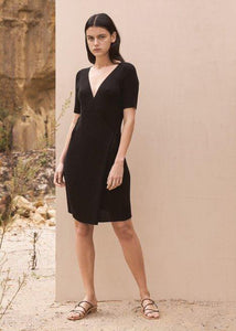 St. Agni Anais Wrap Knit Dress - Black