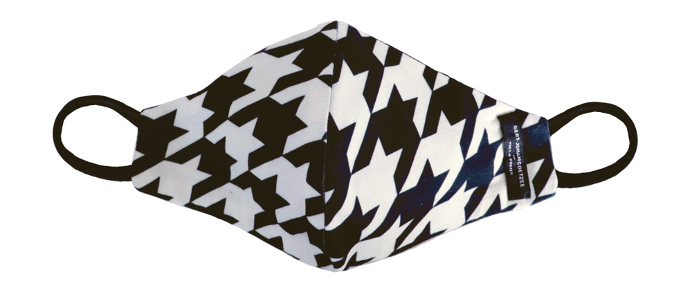 Black & cream houndstooth mask