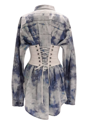 Oversized Denim Cotton Shirt (corset sold separately)