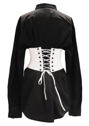 Black Oversized Gert Cotton Shirt (corset sold separately)