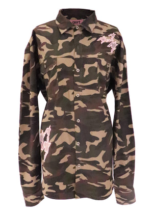 Oversized Camo Cotton Shirt (corset sold separately)