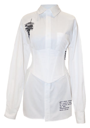 White Oversized Gert Cotton Shirt (corset sold separately)