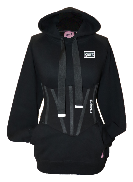 Classic black gert  logo hoodie (corset sold separately)
