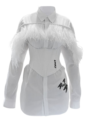 Oversized white gert feather shirt (corset sold separately)