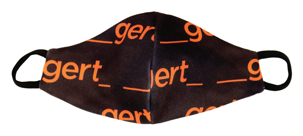 Black with orange Gert print mask
