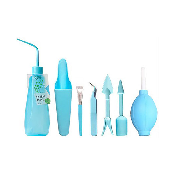 Succulent Inc. - Succulent Gardening Tool Set - Air Blower - Angled Tweezer - Planting Tool - Water Bottle - Cleaning Brush - Soil Scoop