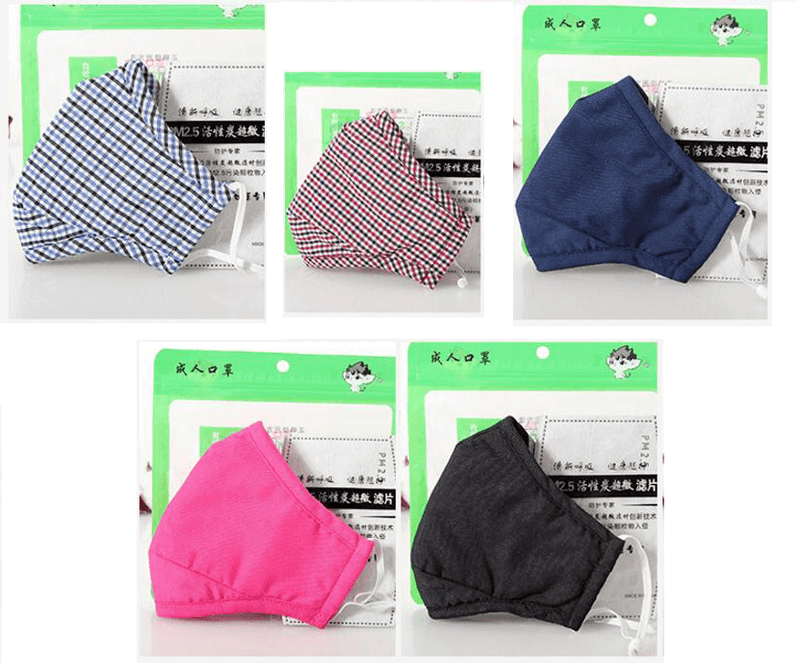Cotton PM2.5 Activated Carbon Filter Face Mask