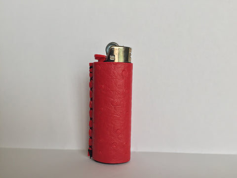 Red Ostrich Leather Lighter Sleeve
