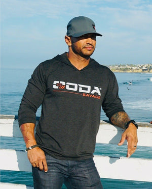 OODA Savage Premium Tri-Blend Hoodie T-Shirt, Heather Black