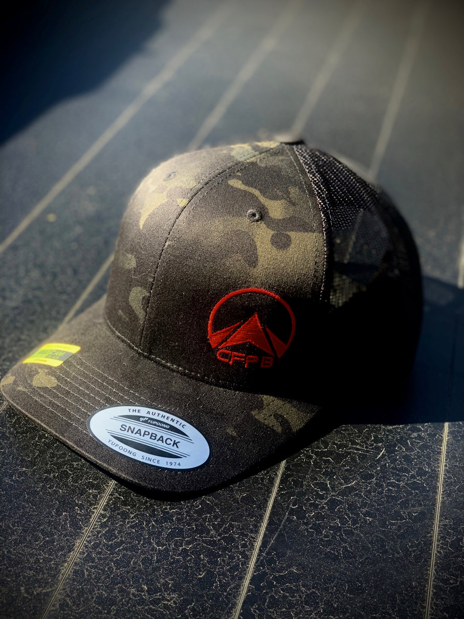 CrossFit PB Trucker/Snap Back Hat, Black Multicam w/ Red or Neon Logo