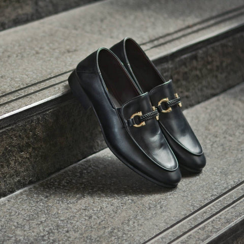 702 2in1 Horsebit Plait Loafer X Matt Black