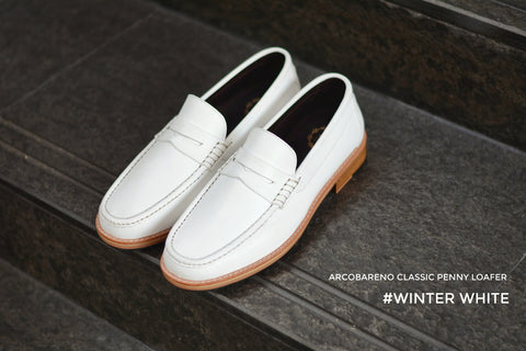 509-1 Wide Front Penny Loafer White - Wooden Base