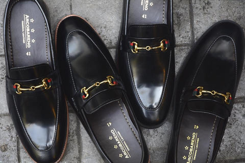 702-2 Horsebit Loafer Black Rubber Sole