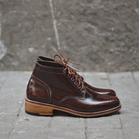 446 Derby Hi-Cut Burgundy Wooden Soles
