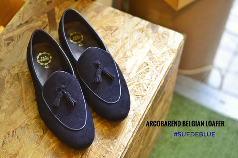 Suede Blue Belgian Loafers