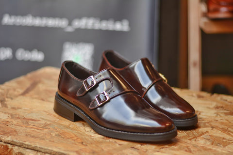 504-2  Double Monk Strap Burgundy