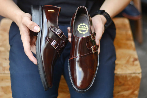 Customized Double Monk Strap Burgundy