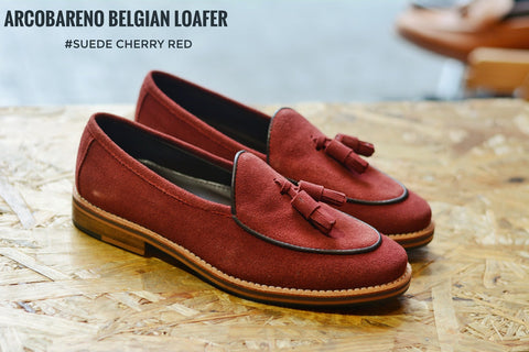 Suede Tassel Cherry Belgian Loafers x Wooden Sole