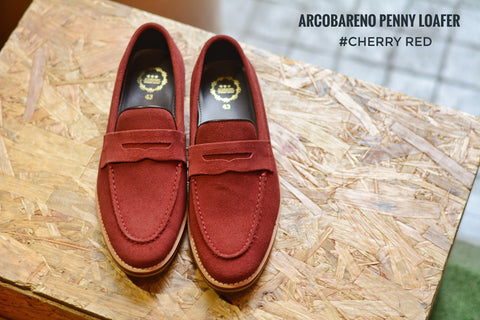 Suede Red Penny Loafers