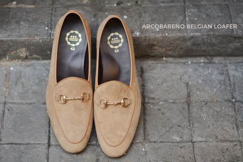 Horsebit Suede Cream Belgian Loafers