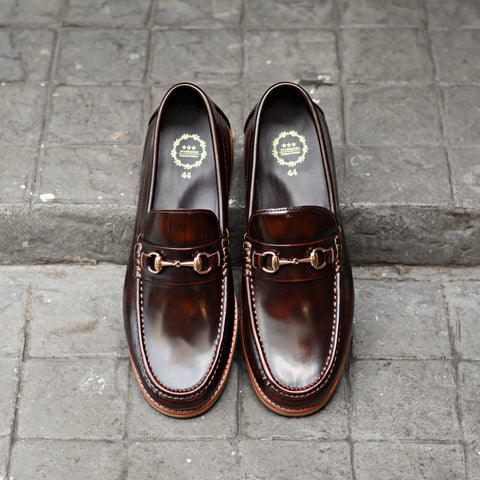 703 Wide Front Horsebit Loafer Burgundy