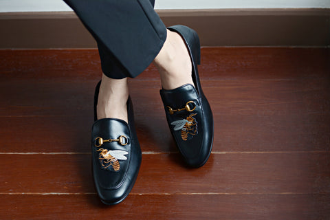 702 2n1 Horsebit Black Loafer Bee Embroidery