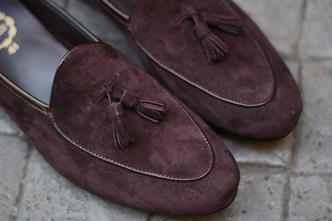 503-2 Tassel Suede Dark Brown Belgian Loafers