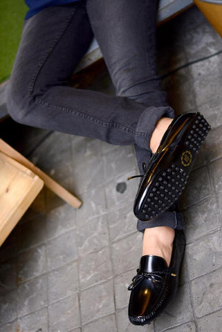 801 Driving Loafer Black with Plait lace