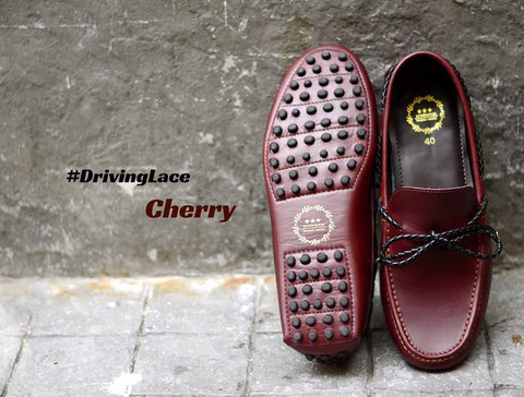 823-2 Driving Loafer Cherry with Plait Lace