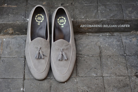 503-2 Tassel Suede Grey Belgian Loafers