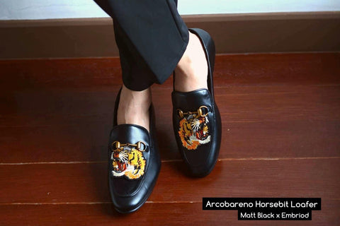 702 2n1 Horsebit Black Loafer Lion Embroid