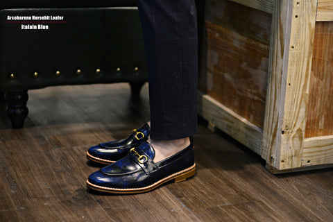 702 Horsebit Italian Blue Loafer x Wooden Sole