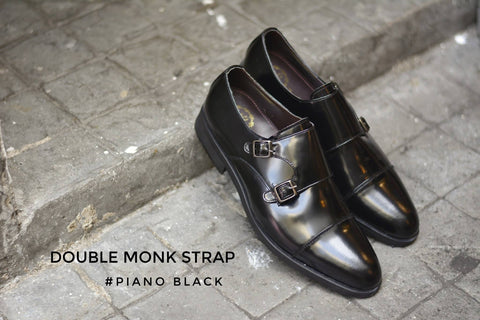 504-1 New Double Monk Strap Piano Black