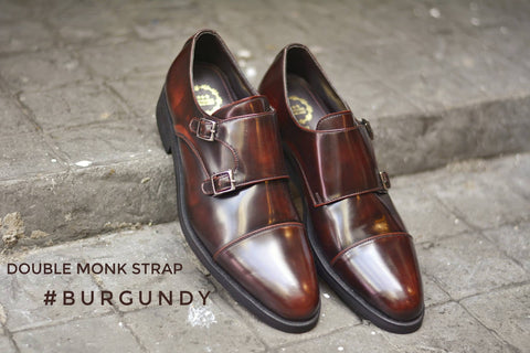 504 New Double Monk Strap Burgundy