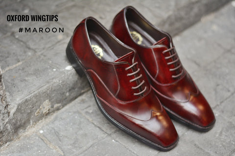 502-1 New Oxford Shoe Wingtip Maroon