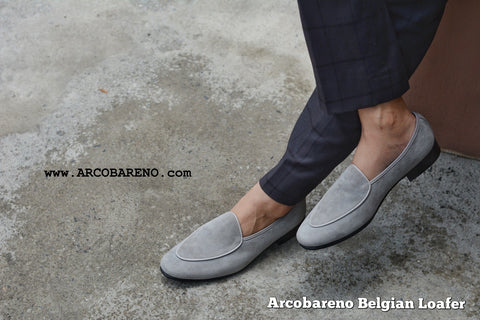 503-2 Plain Suede Grey Belgian Loafers