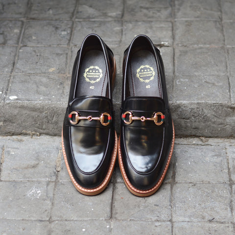702-2 Horsebit Black Loafer Wooden Sole