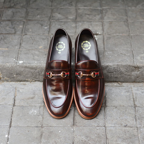 702-2 Horsebit Burgundy Loafer Wooden Sole