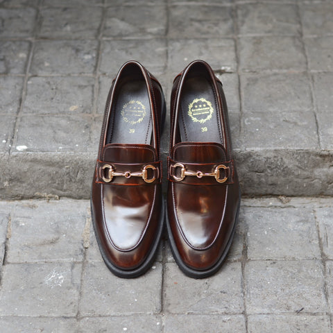702 Horsebit Loafer Burgundy - Black Rubber Sole