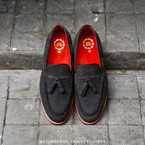 503 Tassel Loafers Suede Lamb SpaceGray x Cherry Red