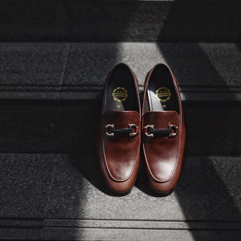 702 2in1 Horsebit Plait Loafer X Matt Caramel